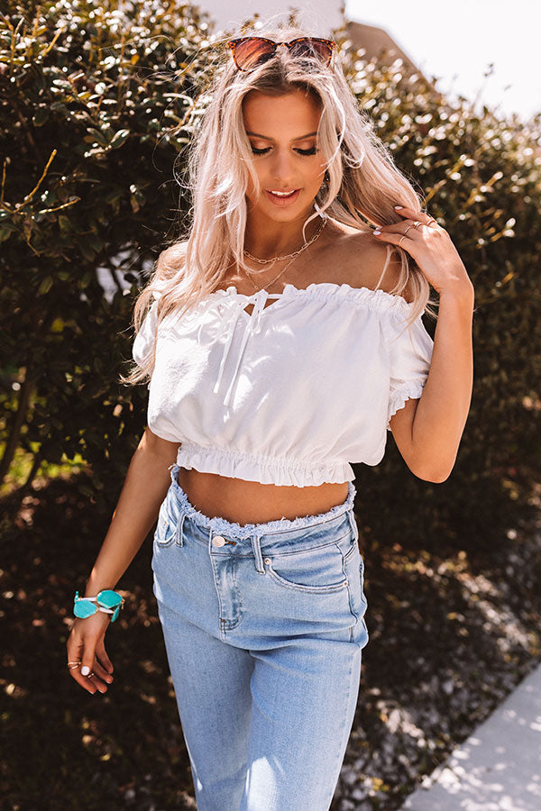 Southern Accent Crop Top In White