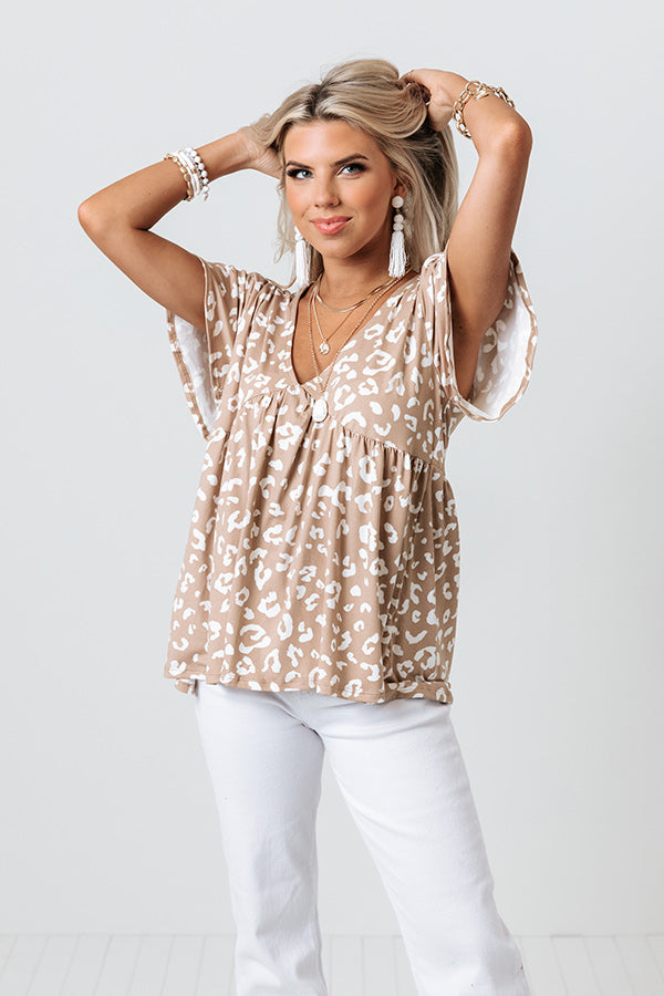 Hourly Update Leopard Babydoll Top In Taupe