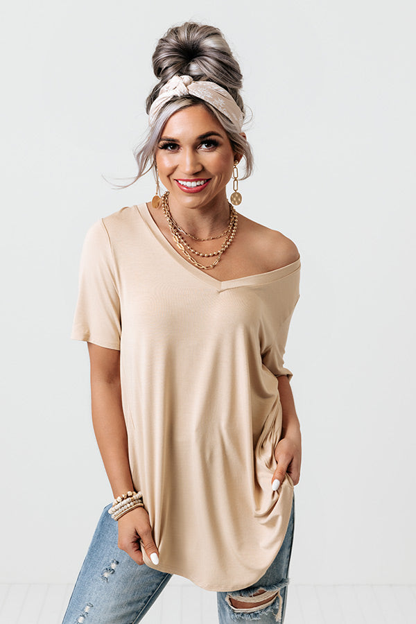 Coastal Chic Shift Tee In Beige