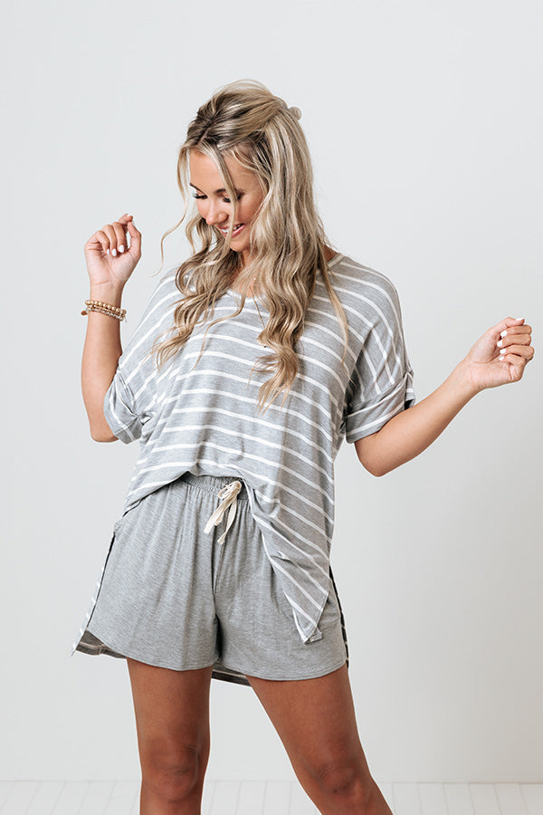 Nautical Charm Shift Tee in Grey