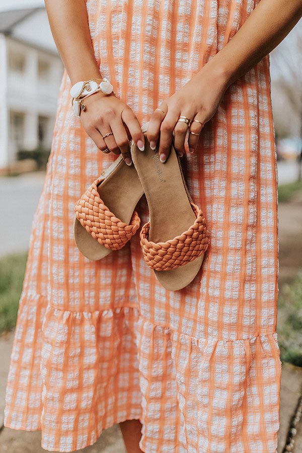 The Shania Braided Espadrille In Peach