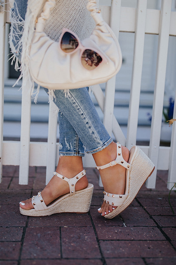 The Desperado Studded Wedge In Stone