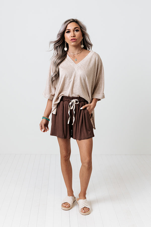 Iced Matcha Shorts In Chestnut