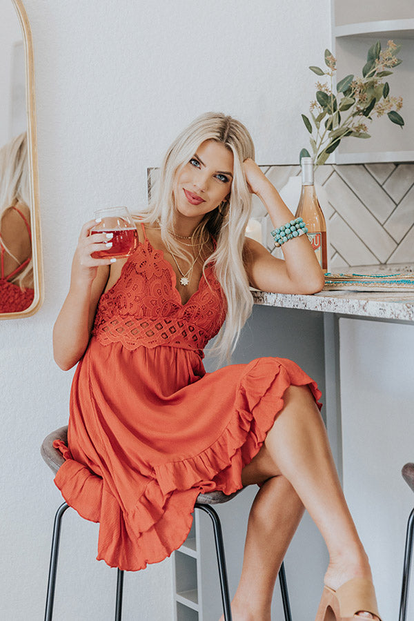 Refined Beauty Lace Dress In Tangerine