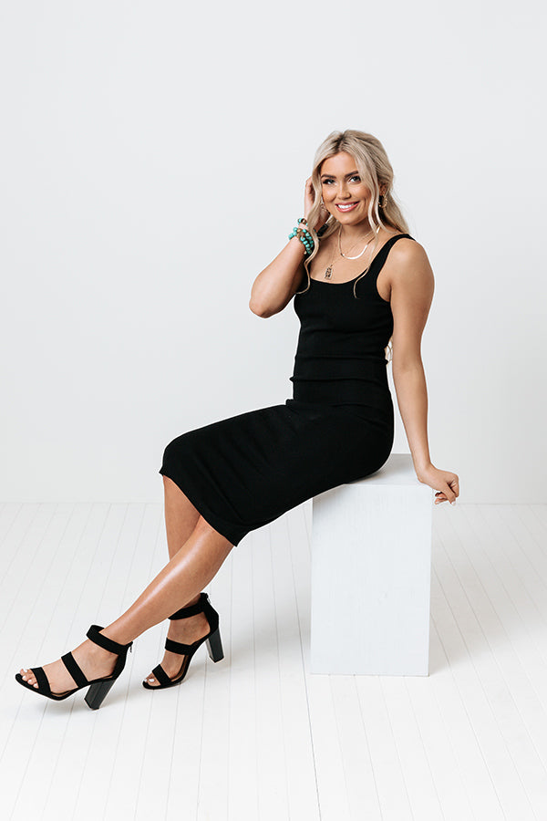 Easy Come, Easy Go Ribbed Midi In Black