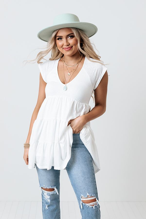 Sea Shine Babydoll Tunic Dress In White