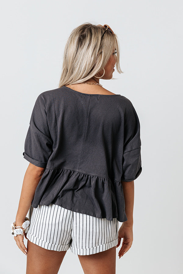 Lakeside Lounging Babydoll Top In Charcoal