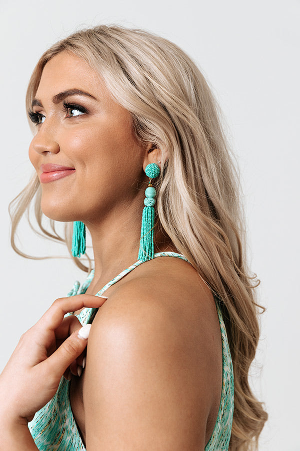 It's A Vibe Beaded Earrings In Turquoise