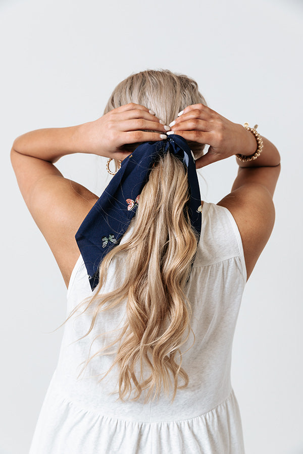 Sandy In Seychelles Scrunchie In Navy