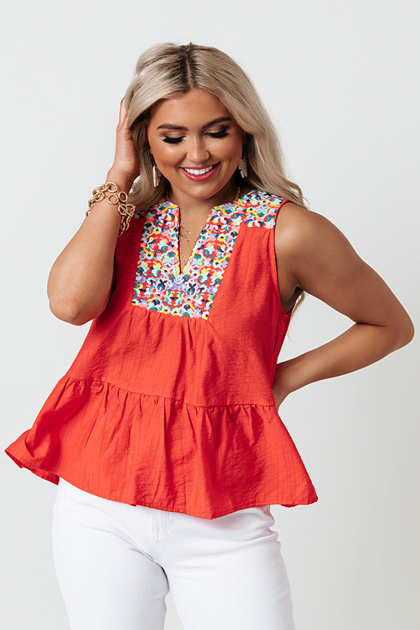 Tahitian Gardens Embroidered Top In Scarlet