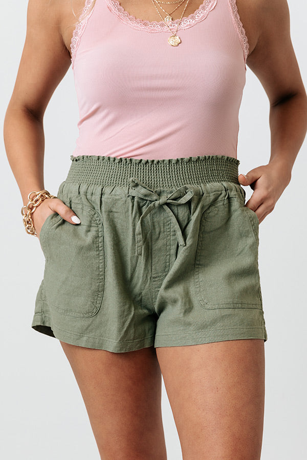 The Redmond Linen-Blend Shorts In Olive