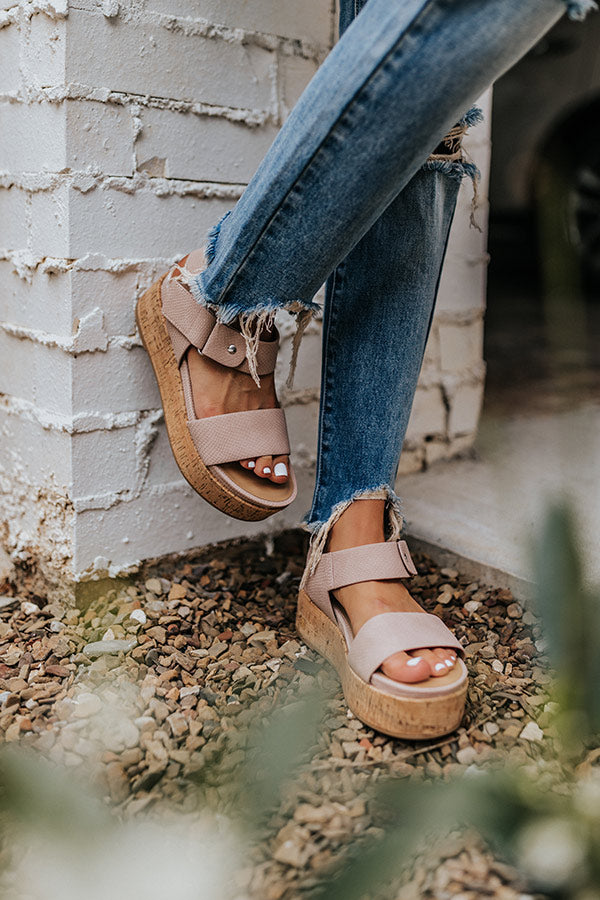 The Danika Faux Leather Platform Sandal In Latte