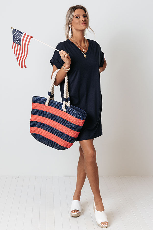 Press Rewind T-Shirt Dress In Navy