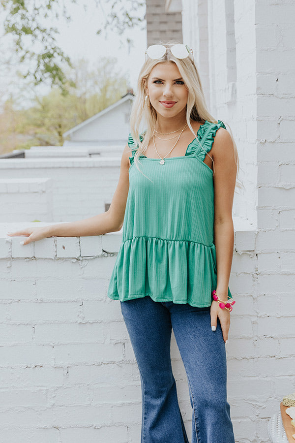 Peace And Poppies Shift Tank In Green