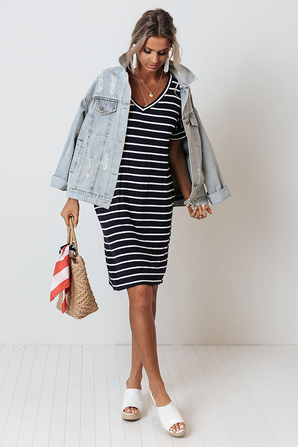 Kisses And Stripes Dress In Navy