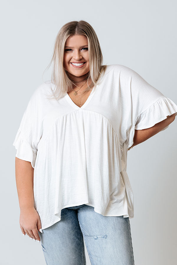 Dance It Out Babydoll Top In Ivory
