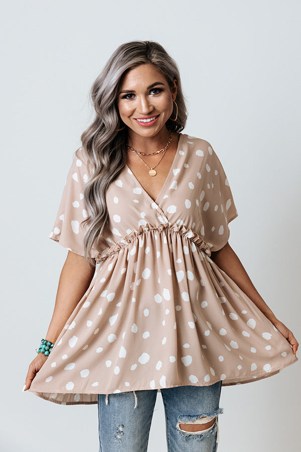 Confetti Confessions Babydoll Top In Iced Latte