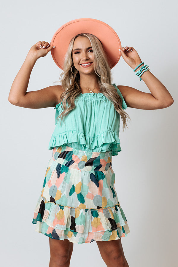 Best Case Scenario Ruffle Top In Ocean Wave