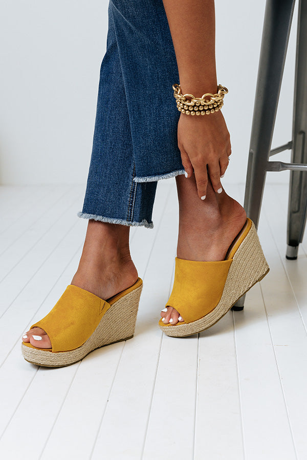 The Mariposa Faux Suede Wedge In Mustard