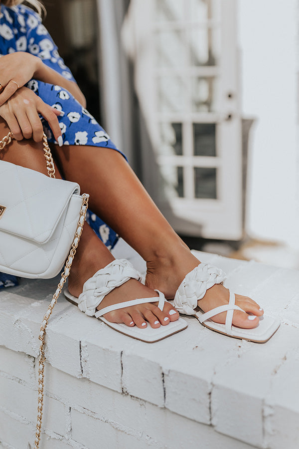 The Venice Faux Leather Sandal In White