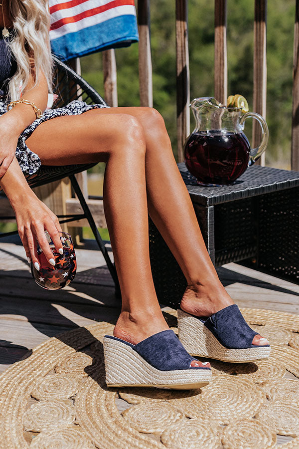 The Mariposa Faux Suede Wedge In Navy