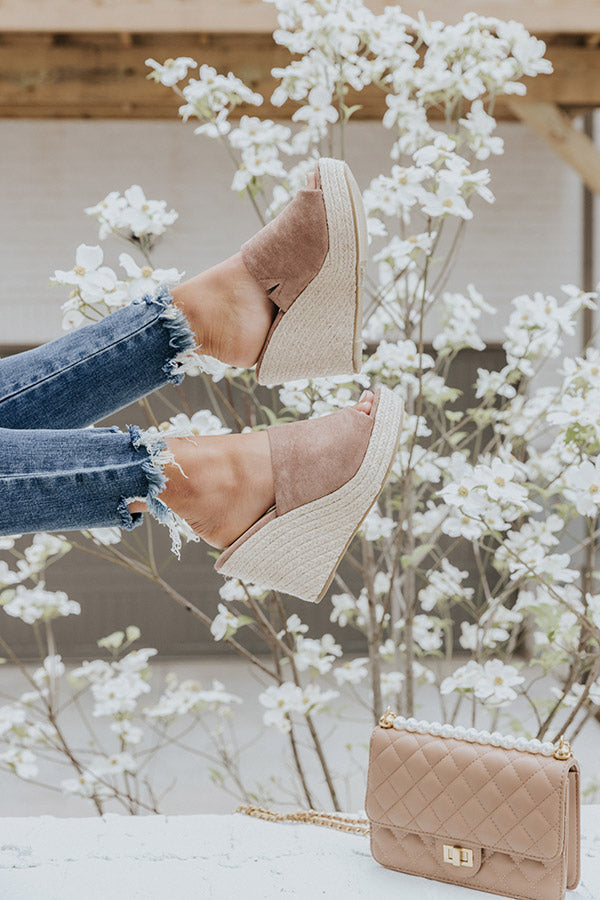 The Mariposa Faux Suede Wedge In Taupe