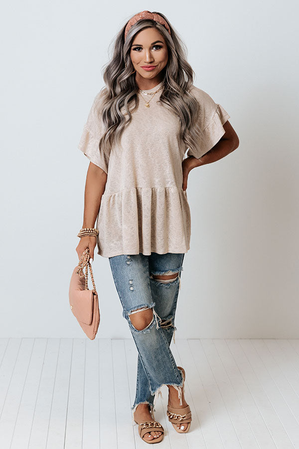 Spring Stories Shift Top In Warm Taupe