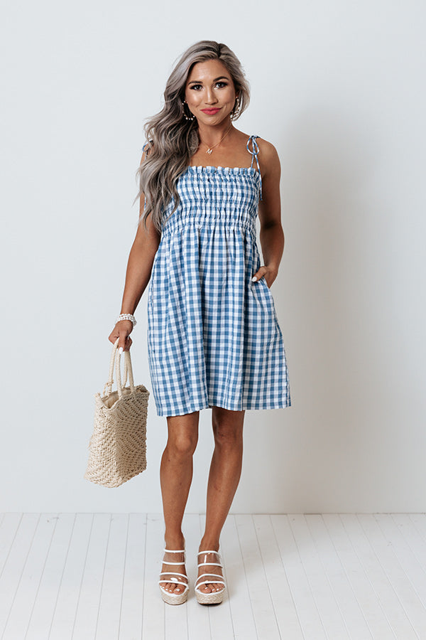 Waterloo Gingham Dress In Blue