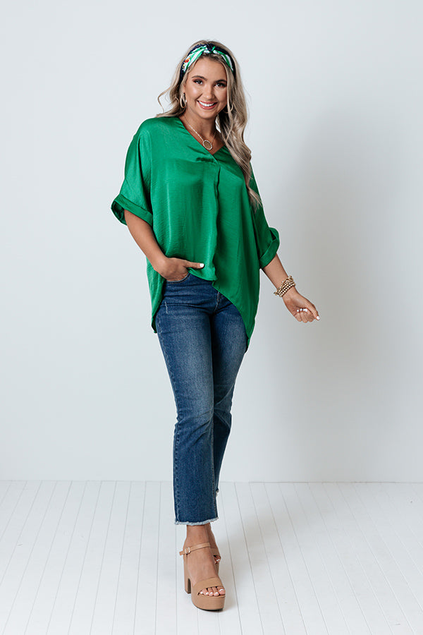 Honey Sweet Shift Top In Kelly Green