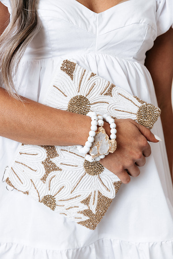 Try Your Best Semi Precious Bracelet Set in White