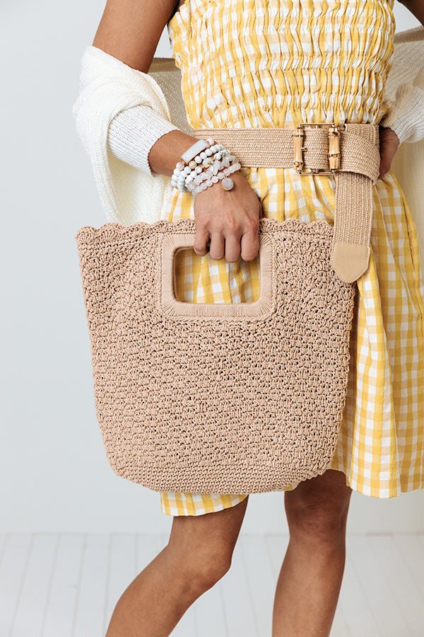 Bottomless Mimosas Knit Tote In Tan