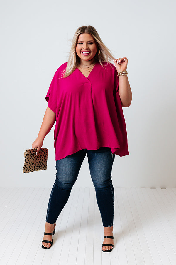 Just For Tonight Shift Top In Fuchsia
