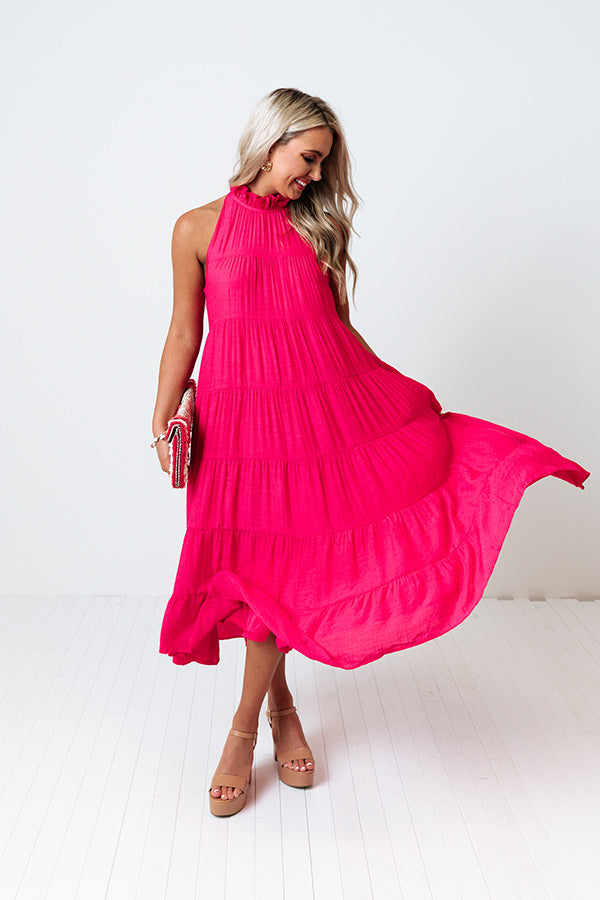 Hibiscus Kisses Midi In Hot Pink