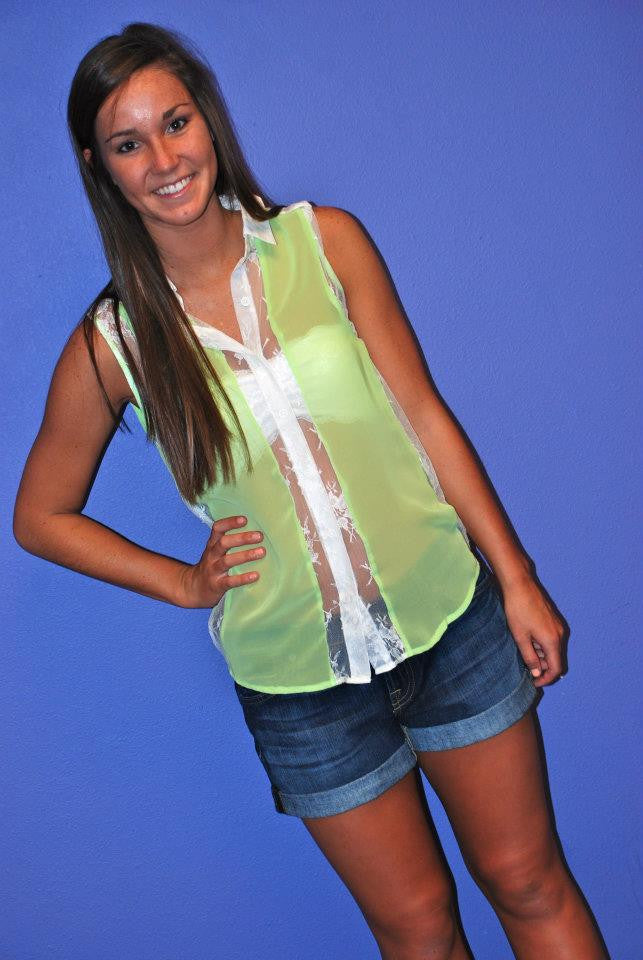 Neon Lace Lime Green
