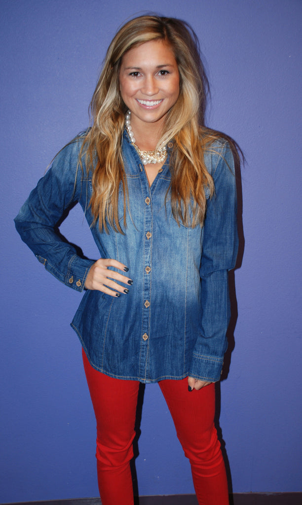 Chic Denim Button Up