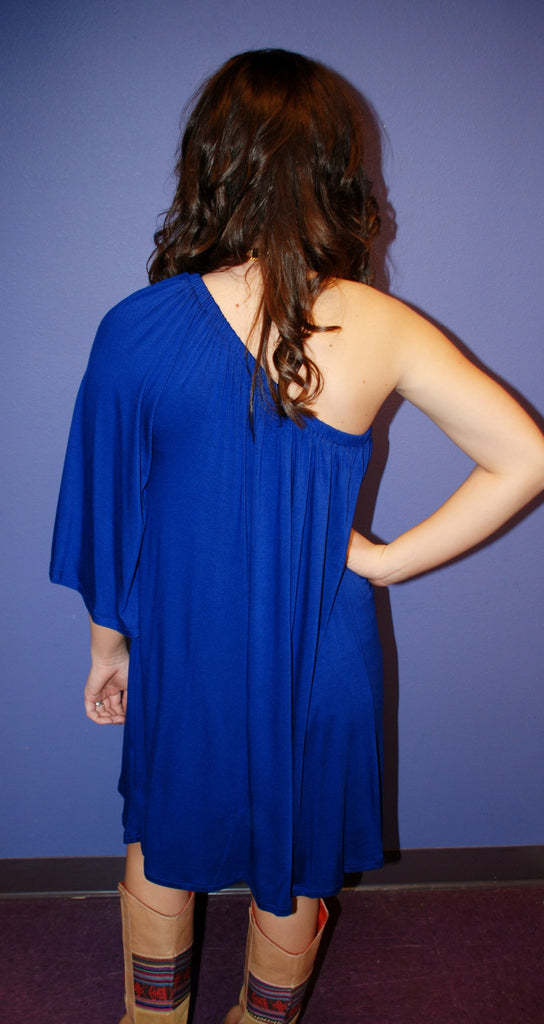 Impress One Shoulder Dress Blue