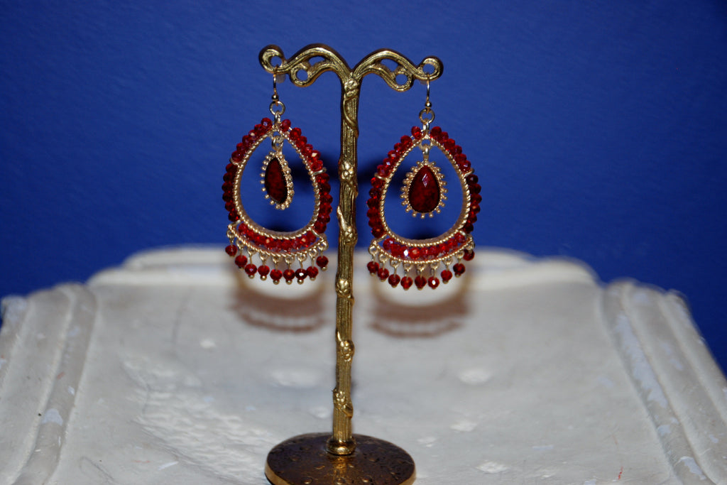 Red Chandelier Earring