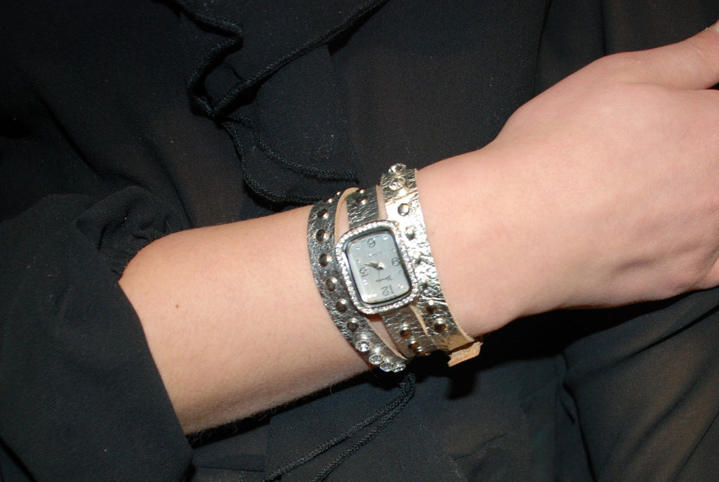 Silver Studded Wrap Watch