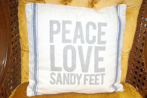 Peace, Love, Sandy Feet Pillow
