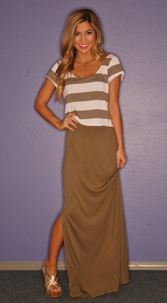 Miami Stripe Maxi in Olive
