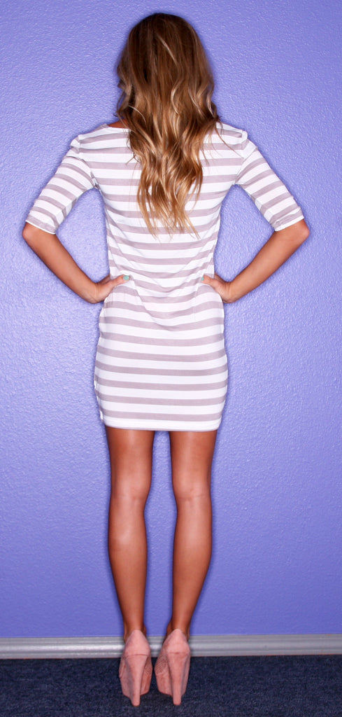 Grey Stripe PIKO Dress