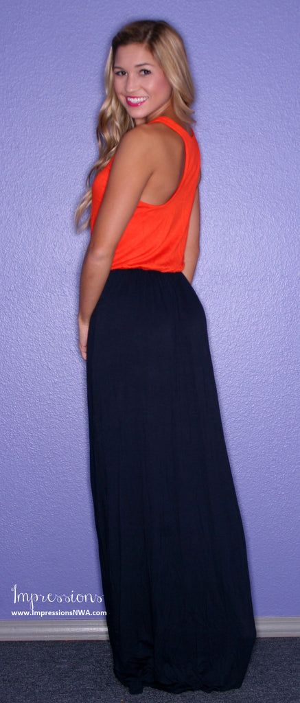 Southern Hostess Maxi Orange/Navy