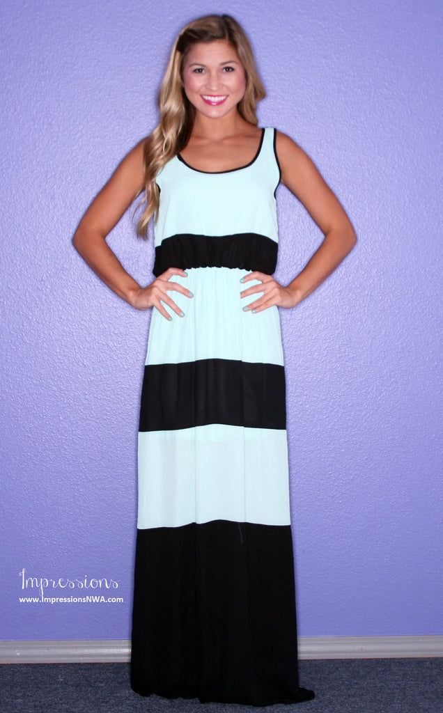 Beachy Stripe Maxi Black