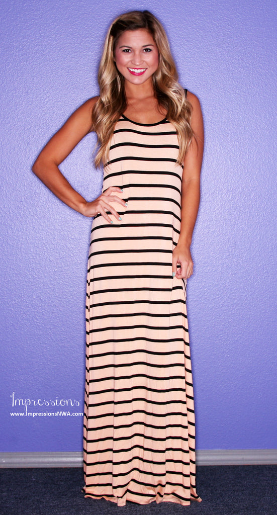 Party Time Stripe Maxi Peach