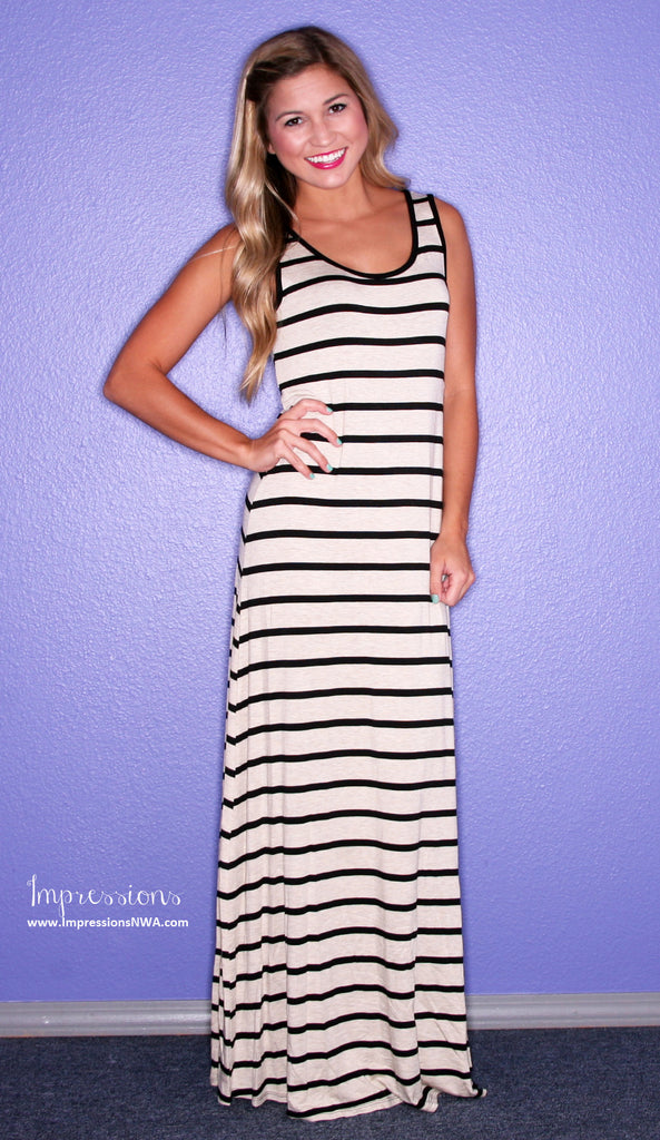 Party Time Stripe Maxi Grey