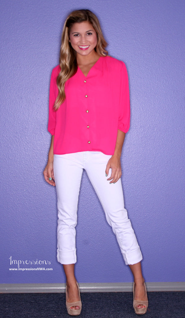 Blissful Button Up Fuschia