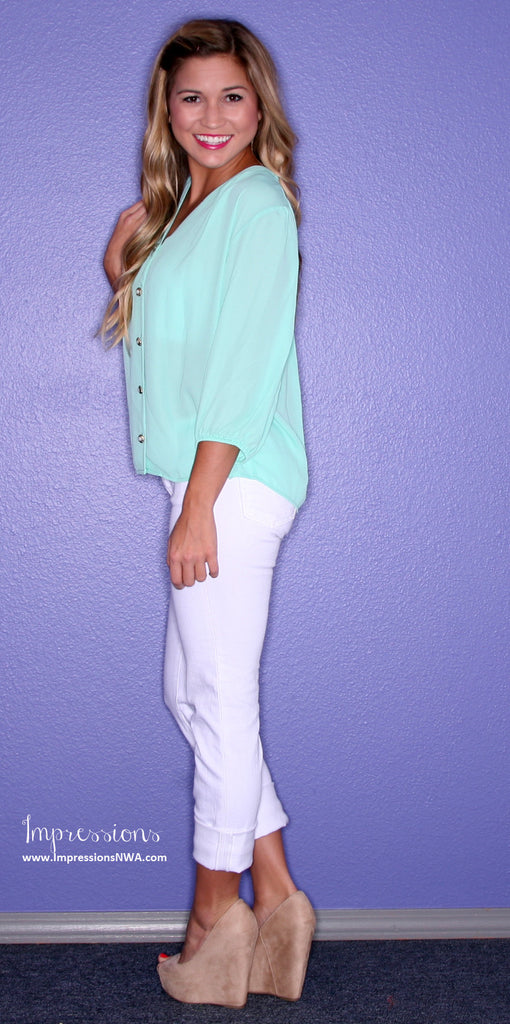 Blissful Button Up Mint