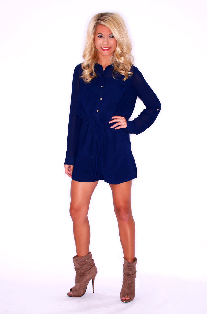 Upper East Side Romper Navy