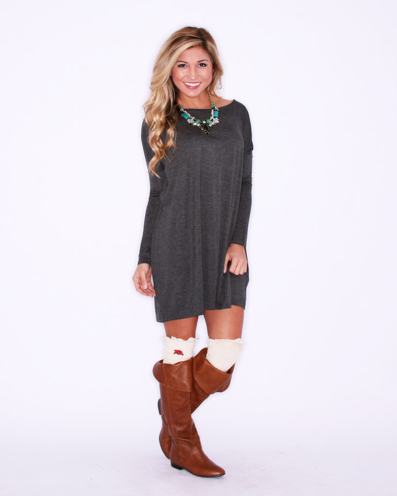 Long Sleeve PIKO Dress in Dark Grey