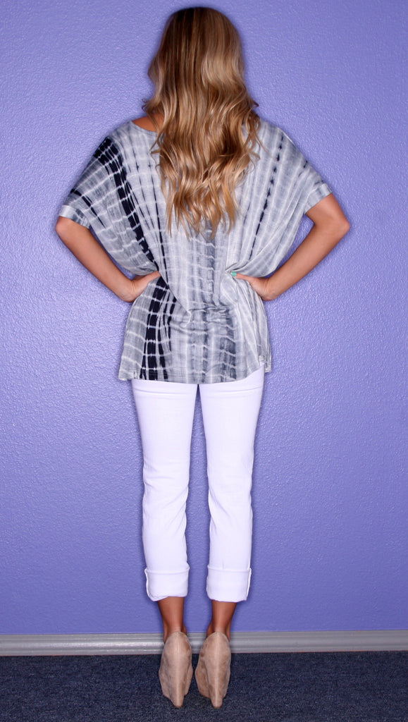 Tie Dye Short Sleeve Piko in Navy